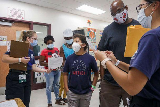 PHOTO: Students and their families fill out paperwork at a back to school health clinic at Middleton High School in Tampa, Fla., on July 31, 2021. (Ivy Ceballo/Tampa Bay Times via ZUMA Wire via Newscom)