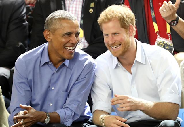Former president Barack Obama, shown here with Prince Harry last summer, reportedly won't be attending the royal wedding. (Photo: Chris Jackson/Getty Images for the Invictus Games Foundation )