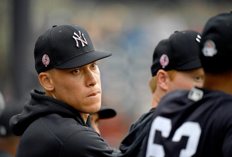 TAMPA, FLORIDA - FEBRUARY 26: Aaron Judge #99 of the New York Yankees in the dugout during the spring training game against the Washington Nationals at Steinbrenner Field on February 26, 2020 in Tampa, Florida. (Photo by Mark Brown/Getty Images)