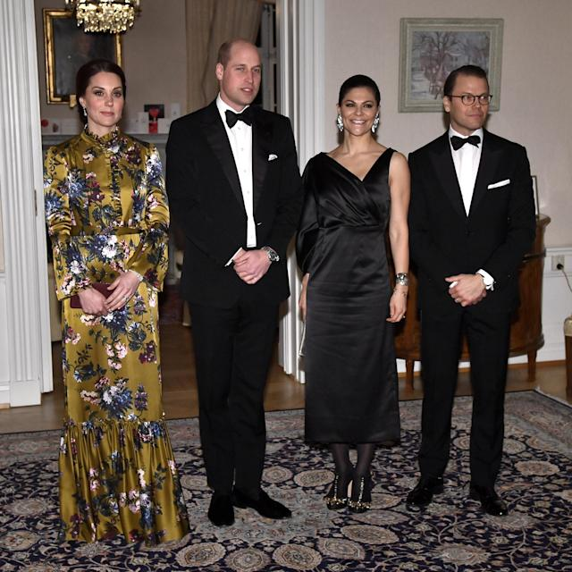 Britain's Prince William, Catherine Duchess of Cambridge, Crown Princess Victoria and Prince Daniel pose for photographers prior to a dinner at the British Ambassador's residence in Stockholm, Sweden, January 30, 2018. TT News Agency/Claudio Bresciani/via REUTERS