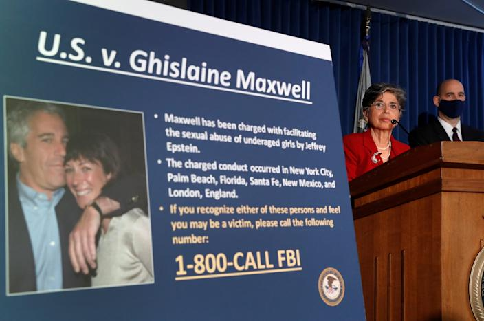 FILE PHOTO: Audrey Strauss, Acting United States Attorney for the Southern District of New York speaks alongside William F. Sweeney Jr., Assistant Director-in-Charge of the New York Office, at a news conference announcing charges against Ghislaine Maxwell for her role in the sexual exploitation and abuse of minor girls by Jeffrey Epstein in New York City, New York, U.S., July 2, 2020. REUTERS/Lucas Jackson