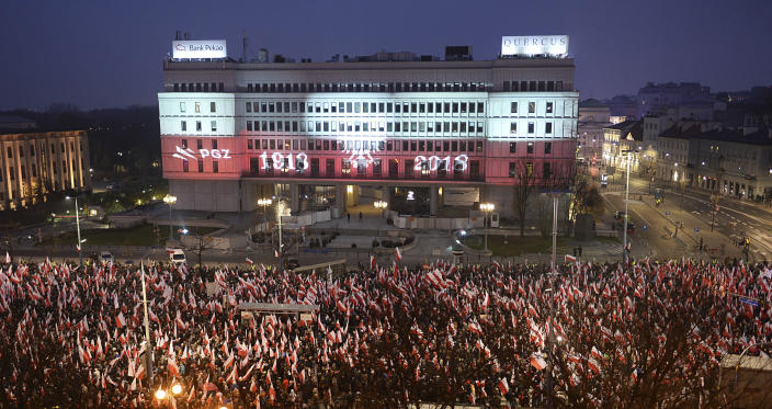 Thousands walk in the annual March of Independence organized by far right activists to celebrate 100 years of Poland's independence marking the nation regaining its sovereignty at the end of World War I after being wiped off the map for more than a century. (AP Photo/Alik Keplicz)