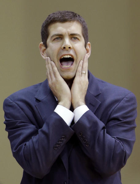 Butler head coach Brad Stevens yells to his players during the first half of an NCAA college basketball game against La Salle, Wednesday, Jan. 23, 2013, in Philadelphia. (AP Photo/Matt Slocum)