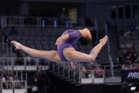 Morgan Hurd competes in the floor exercise during the U.S. Gymnastics Championships, Friday, June 4, 2021, in Fort Worth, Texas. (AP Photo/Tony Gutierrez)