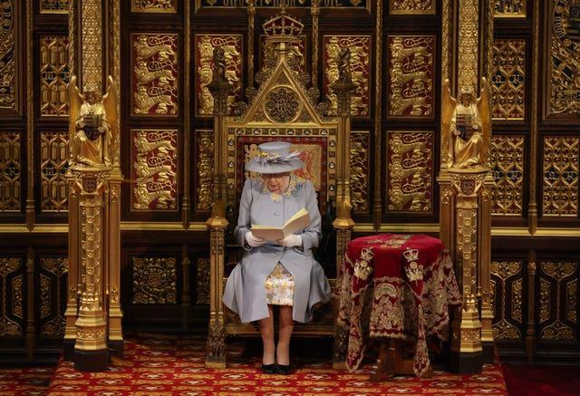 The Queen delivers the speech from the throne in House of Lords