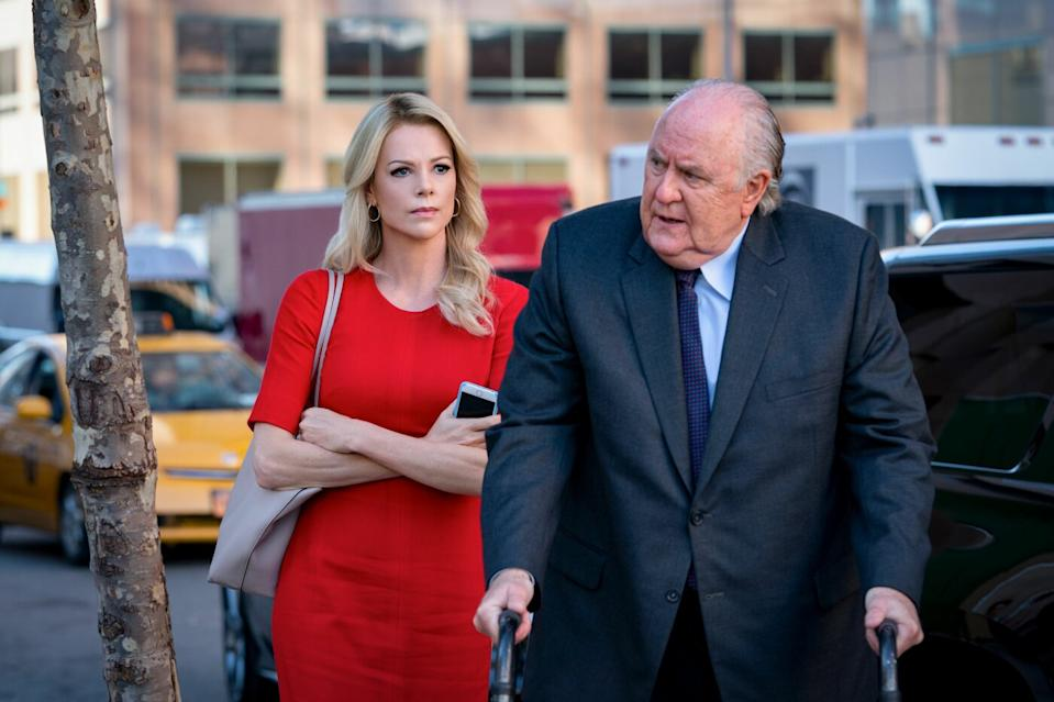 Charlize Theron and John Lithgow as Megyn Kelly and Roger Ailes in <i>Bombshell</i>. (Lionsgate)