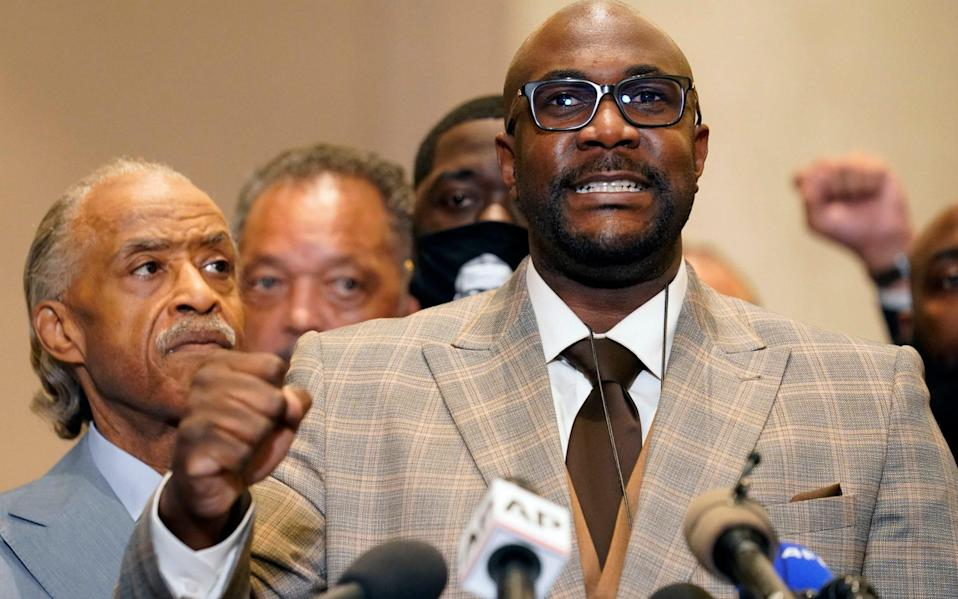 George Floyd's brother Philonise Floyd speaks during a news conference after the verdict was read in the trial of former Minneapolis Police officer Derek Chauvin - AP