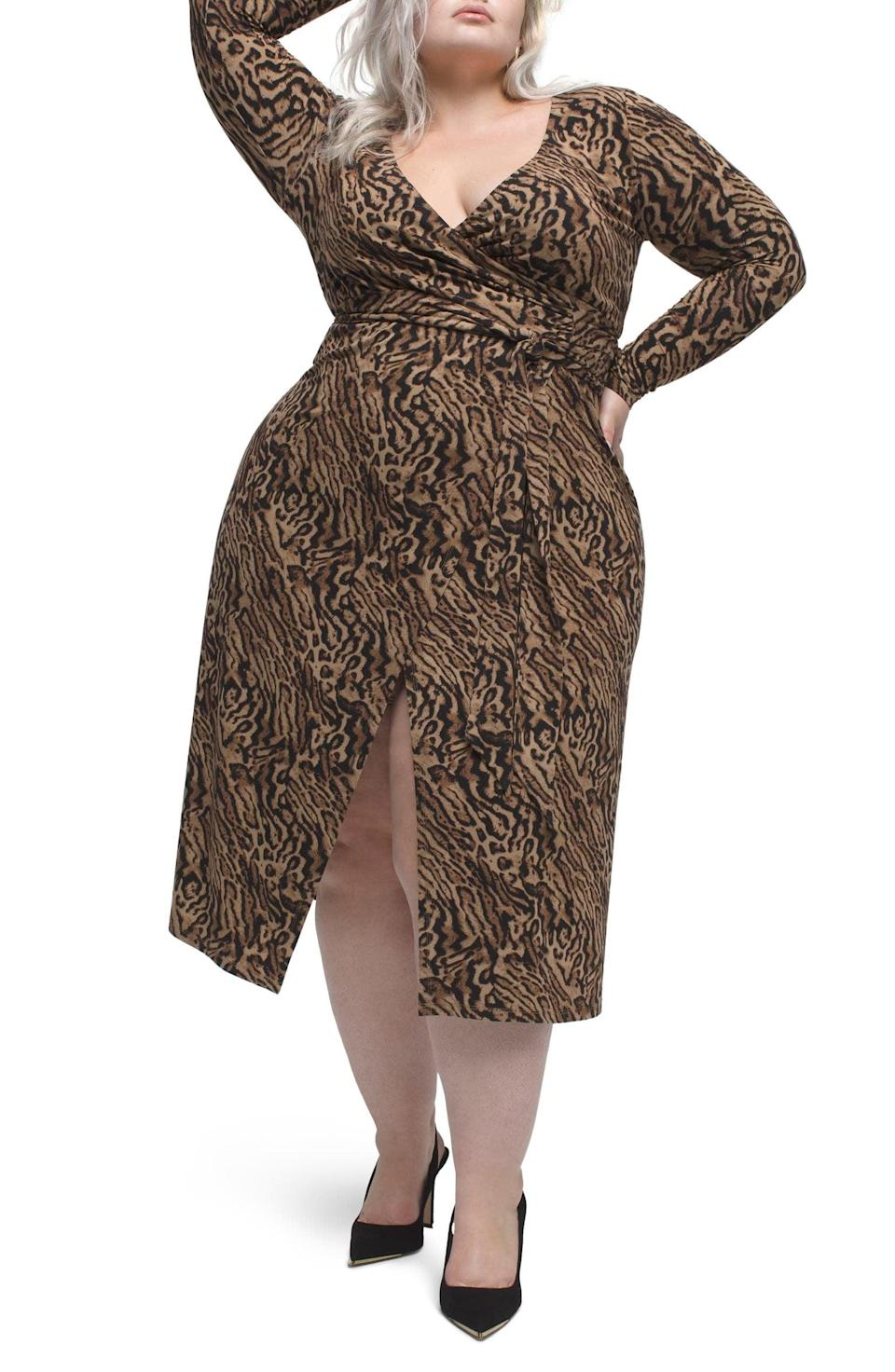 <p>Take a walk on the wild side with this <span>Good American Animal Print Long Sleeve Wrap Dress</span> ($52, originally $129).</p>