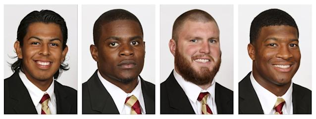 These photos provided by Florida State University show Florida State football players, from left, Roberto Aguayo, Lamarcus Joyner, Bryan Stork and Jameis Winston. Winston, who was a landslide Heisman winner last week, is joined on the The Associated Press All-America first team by three Florida State teammates, Stork, Aguayo and Joyner, to give the top-ranked Seminoles more than any other school. (AP Photo/Florida State University)