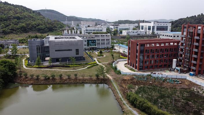 An aerial view shows the P4 laboratory (L) at the Wuhan Institute of Virology in Wuhan in China's central Hubei province on April 17, 2020. (Hector Retamal/AFP via Getty Images)