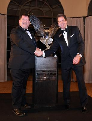 Bryan Bartee, general manager of KanPak Arkansas City (left) and Mark Wetterau, GSF Chairman and CEO (right) receive the Chairman's Challenge Award, presented on Feb. 12, 2020 in Newport Beach, Calif.