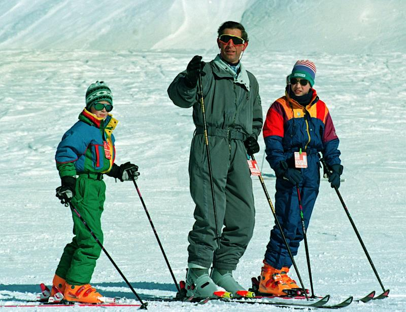 Prince of Wales on the slopes in Klosters, Switzerland, where he is on a skiing holiday with his sons Princes William and Harry. Photo by Tim Ockenden - PA Images/PA Images via Getty Images.