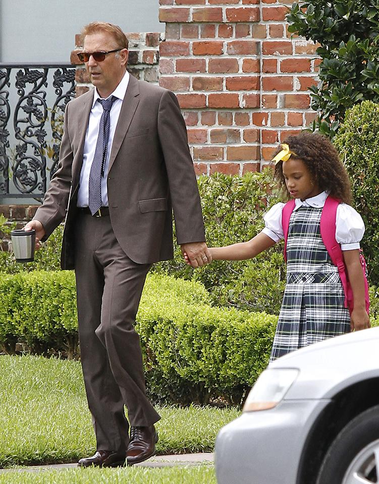 Kevin Costner on set of the film 'Black And White' with his co-star Jillian Estell who plays is grand daughter in New Orleans, Louisiana on July 23, 2013. FameFlynet, Inc - Beverly Hills, CA, USA -  1 (818) 307-4813