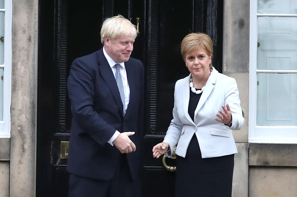 Boris Johnson hit out at the SNP, led by Nicola Sturgeon, for its 'obsession' with independence (Jane Barlow/PA)