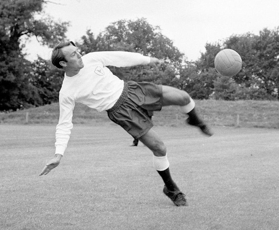 Greaves in a training session for Tottenham (PA) (PA Archive)