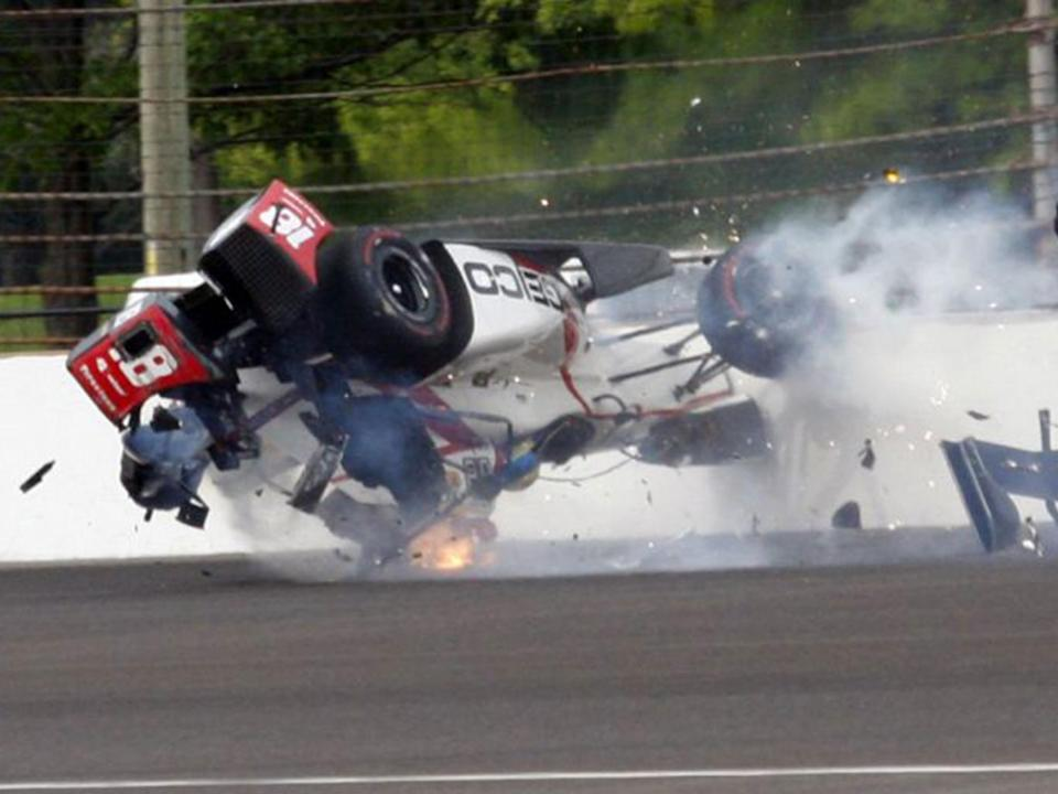 Bourdais' car flipped upside down after making contact with the wall (AP)