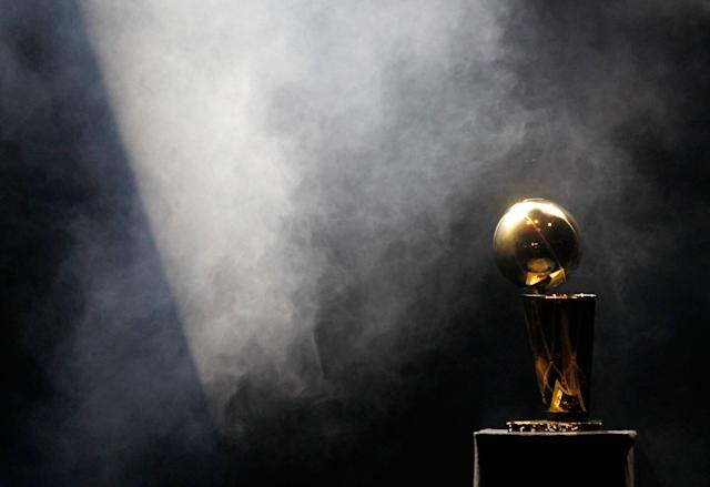MIAMI, FL - JUNE 25: The Larry O'Brien Trophy sits on display during a celebration for the 2012 NBA Champion Miami Heat at American Airlines Arena on June 25, 2012 in Miami, Florida. (Photo by Mike Ehrmann/Getty Images)