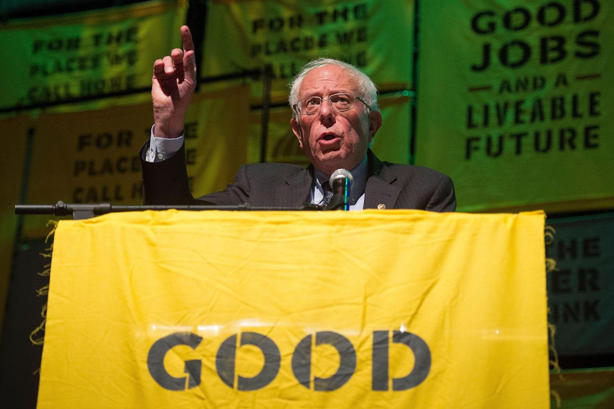 Democratic presidential candidate Sen. Bernie Sanders, I-Vt., addresses The Road to the Green New Deal Tour final event at Howard University. (Photo: Cliff Owen/AP)