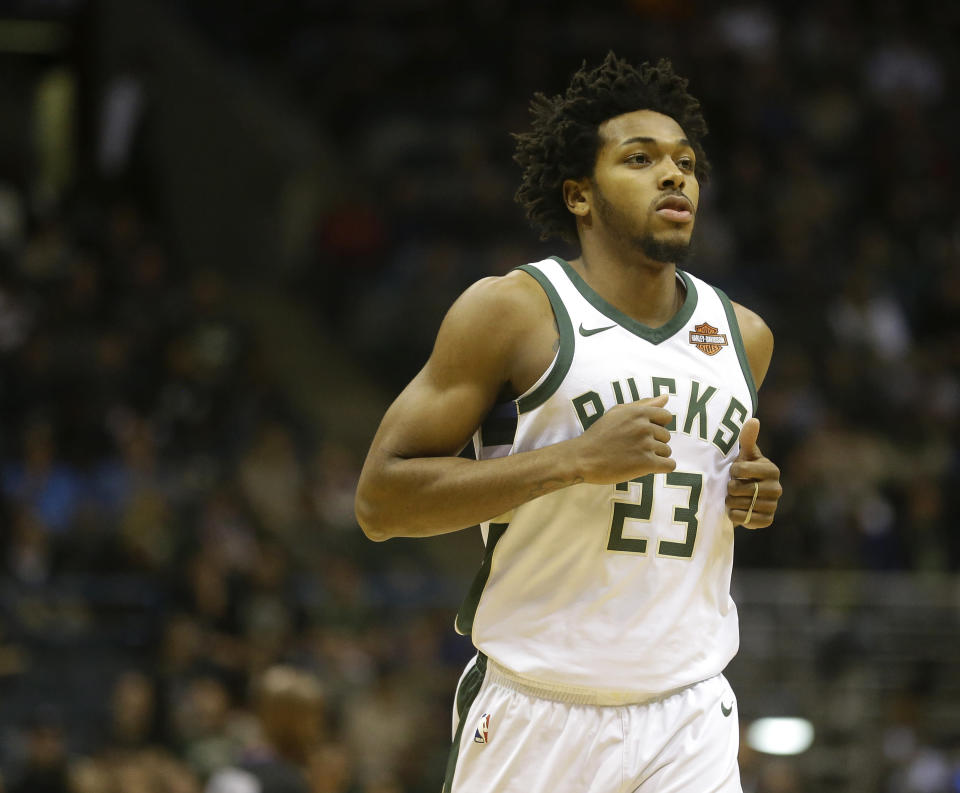 Milwaukee Bucks' Sterling Brown during an NBA basketball game against the Miami Heat Wednesday, Jan. 17, 2018, in Milwaukee. (AP Photo/Aaron Gash)