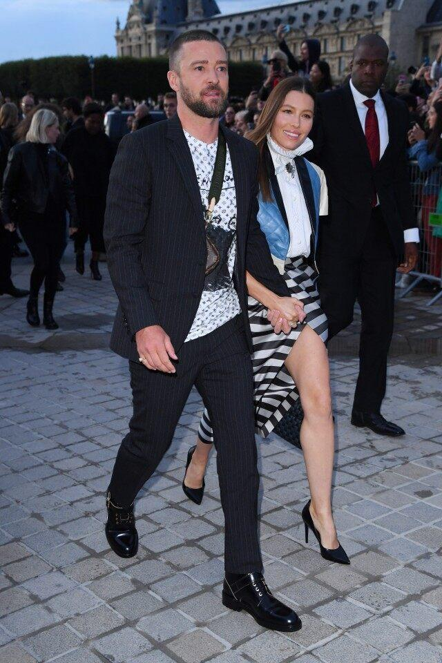 Justin Timberlake and Jessica Biel at louis vuitton show