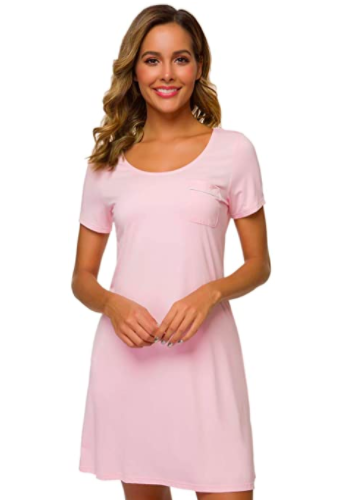 Bamboo nightgown short sleeve scoop neck, S$42.16. PHOTO: Amazon
