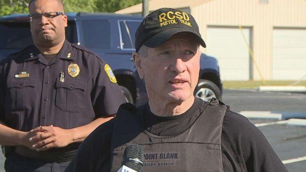 PHOTO: Richland County Sheriff Leon Lott talks to the press about an incident where a Fort Jackson trainee hijacked a school bus full of 18 elementary school students in Richland County, S.C., May 6, 2021. (WOLO)