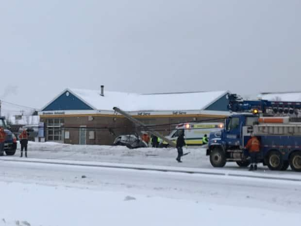 Route 1 was closed between the Hillsborough Bridge and the Sobeys intersection in Stratford for three hours Tuesday after a male driver went off the road and took out a power pole that needed repairs.