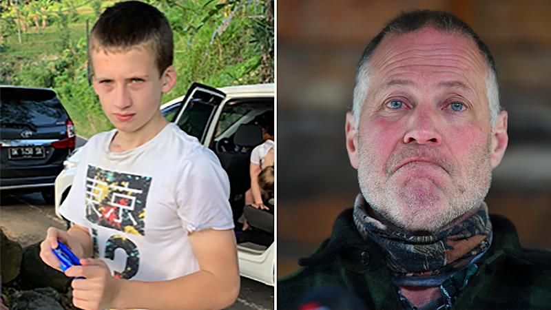Pictured is 14-year-old William Wall, who was found deceased on Wednesday, following an extensive search and on the right, his father, Shane Wall.