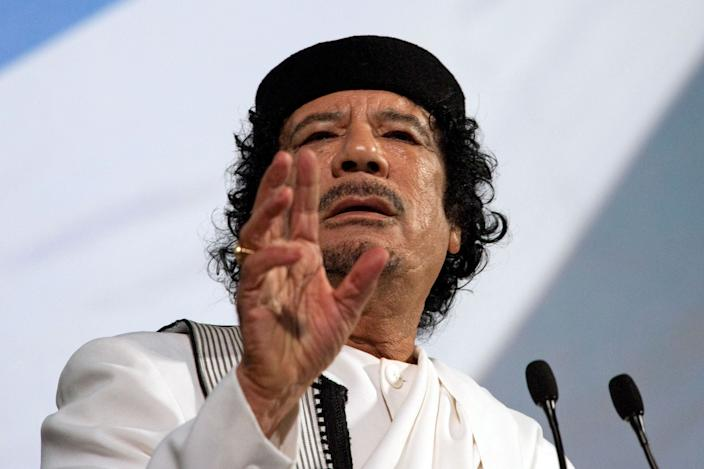 Muammar Qaddafi, Libya's leader, speaks at an equestrian show at the Tor di Quinto cavalry school in Rome, Italy, on Monday, Aug. 30, 2010. (Photo: Victor Sokolowicz/Bloomberg via Getty Images)