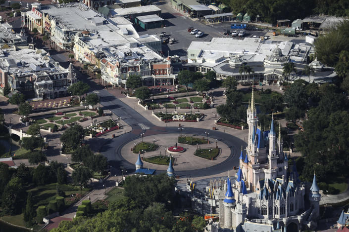 An aerial view of an empty Magic Kingdom at Disney World in Orlando, Fla., May 6, 2020. (Eve Edelheit/The New York Times)