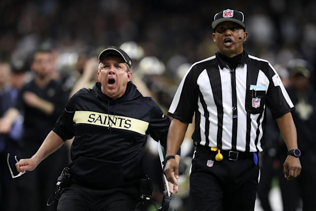 Saints head coach Sean Payton reacts after a no-call during the fourth quarter in the NFC championship game. (Getty Images)