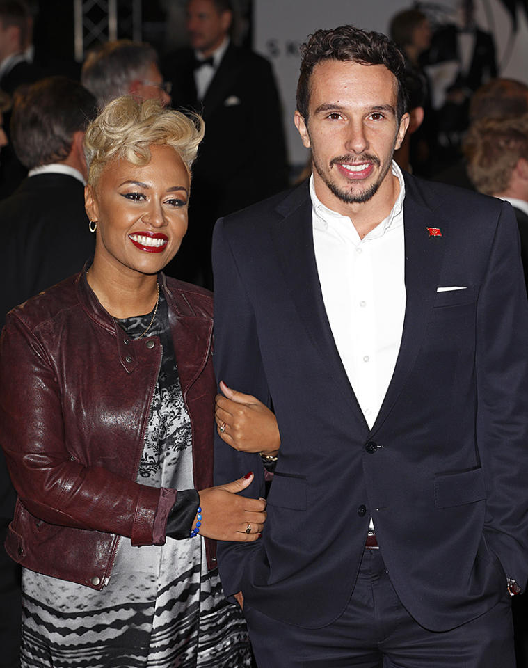 LONDON, UNITED KINGDOM - OCTOBER 23: (EMBARGOED FOR PUBLICATION IN UK NEWSPAPERS UNTIL 48 HOURS AFTER CREATE DATE AND TIME) Emeli Sande and Adam Gouraguine attend the Royal World Premiere of 'Skyfall' at Royal Albert Hall on October 23, 2012 in London, England. (Photo by Indigo/Getty Images)