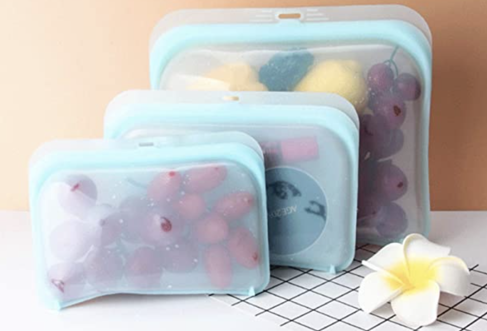 PHOTO: Amazon. Reusable ziplock bags silicone containers, suitable for microwave and freezer
