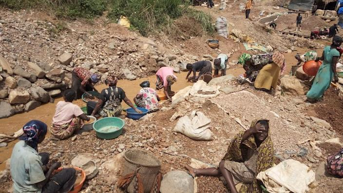 Women and children are among those known to work in DR Congo's informal mines (file photo)