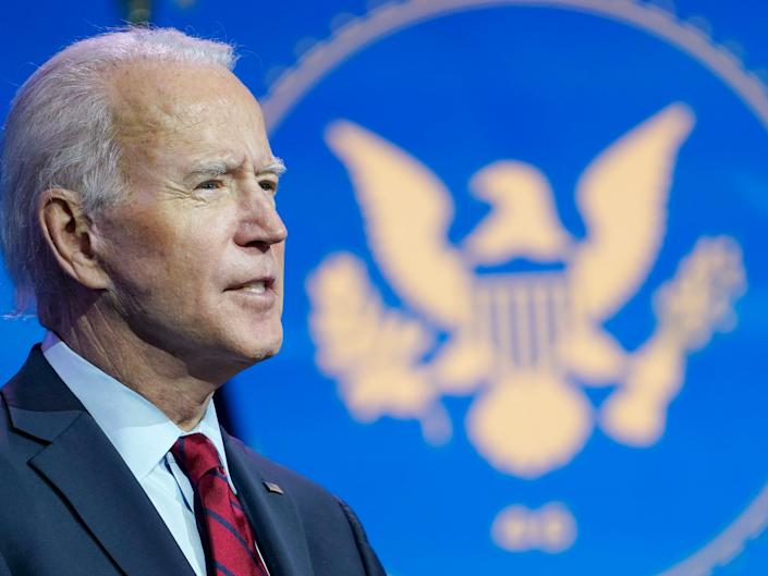 President-elect Joe Biden speaks during an event at The Queen theater in Wilmington, Delaware, Tuesday, 8 December, 2020, to announce his health care team (AP)