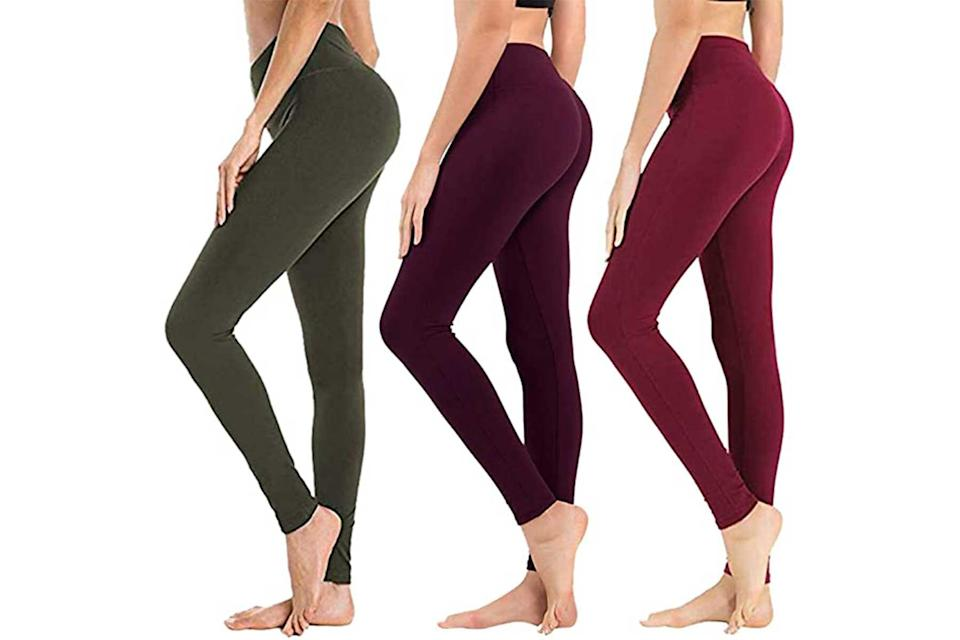 Syrinx 3-pack leggings in olive green, black, and wine
