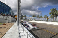 Fans watch an IndyCar auto race Sunday, Oct. 25, 2020, in St. Petersburg, Fla. (AP Photo/Mike Carlson)