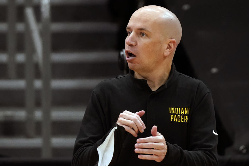 Indiana Pacers head coach Nate Bjorkgren calls a play against the Toronto Raptors during the first half of an NBA basketball game Sunday, May 16, 2021, in Tampa, Fla. (AP Photo/Chris O'Meara)