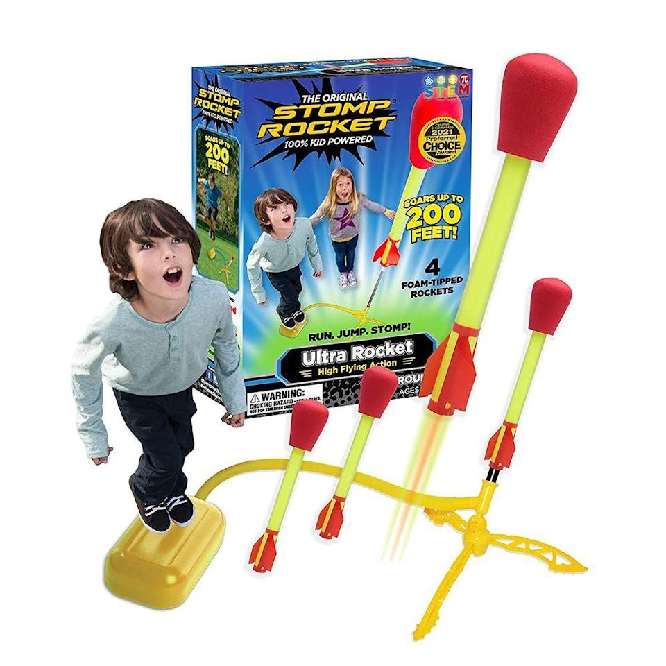 """<p><strong>Stomp Rocket</strong></p><p>amazon.com</p><p><strong>$16.98</strong></p><p><a href=""""https://www.amazon.com/dp/B0006O8Q7Y?tag=syn-yahoo-20&ascsubtag=%5Bartid%7C2089.g.37405641%5Bsrc%7Cyahoo-us"""" rel=""""nofollow noopener"""" target=""""_blank"""" data-ylk=""""slk:Shop Now"""" class=""""link rapid-noclick-resp"""">Shop Now</a></p><p>Whether in rage, excitement, or glee, 3-year-olds are big into stomping their feet. Put that instinct to fun use with the Stomp Rocket. Just put the foam """"rockets"""" on the launcher, countdown, stomp, and watch them sail up to 200 feet in the air. (Not going to lie: It's fun for adults sometimes, too.)</p>"""