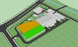 Scanfil Suzhou expansion plan image. The orange is the future production area expansion and green warehouse.