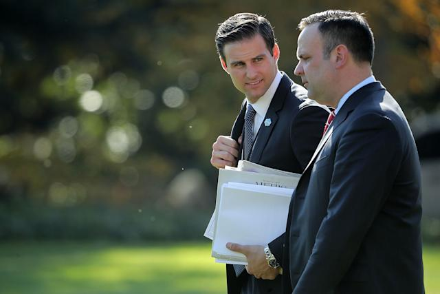 White House Personal Aide to the President John McEntee, left, is seen with White House Director of Social Media Dan Scavino in November.