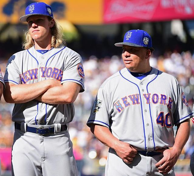 Noah Syndergaard and Bartolo Colon are the last men standing in the Mets rotation. (Getty)