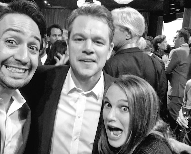 Lin-Manuel Miranda with Matt Damon and Natalie Portman. (Credit: Lin-Manuel Miranda)