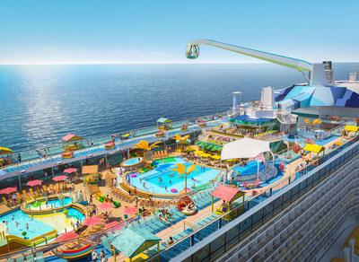 Debuting November 2020, Odyssey of the Seas will tout a vibrant, two-level pool deck, where two resort-style pools, a kids aqua park and four whirlpools are surrounded by shady casitas and hammocks, perfect for enjoying the sea breeze under the sun and stars.