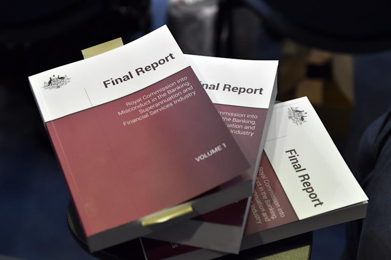 The Final Report with the Banking Royal Commission findings at Parliament House in Canberra, Monday, February 4, 2019. (AAP Image/Mick Tsikas)