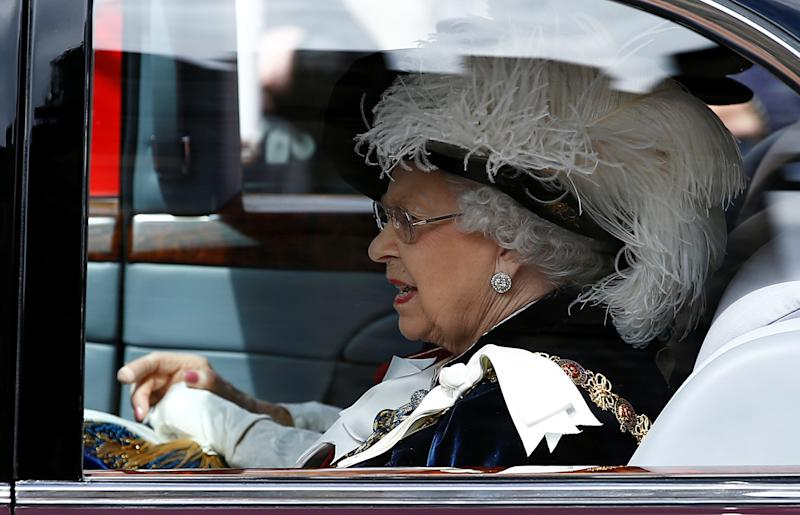 Queen Elizabeth II arrives for the annual Order of the Garter Service at St George's Chapel, Windsor Castle.
