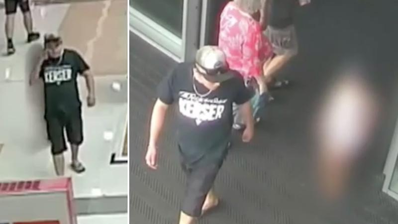 CCTV stills of a Queensland man who abducted a girl from a Kmart at Westfield North Lakes before molesting her. The girl is seen following the man around the shopping centre and out the front entrance.