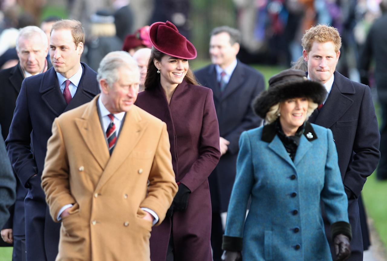 "<p>Kate experienced her first Christmas as a royal at Sandringham in 2011, when she wore an aubergine coat by ""an independent British designer,"" with a matching hat from Jane Corbett. (Getty) </p>"