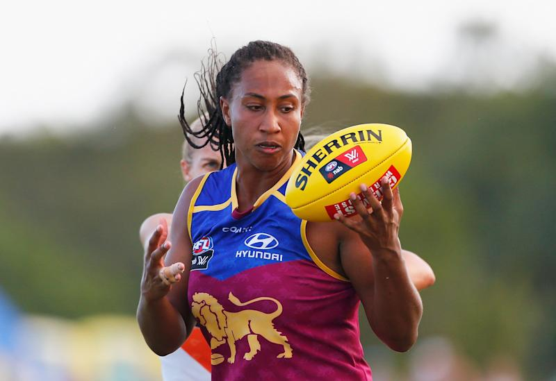 """Sabrina Frederick,shown here at Brisbane's South Pine Complex in February 2017 playing for her former team Brisbane Lions, has spoken about the """"heartbreaking"""" death of fellow AFLW player Jacinda Barclay. (Photo: Jason O'Brien via Getty Images)"""