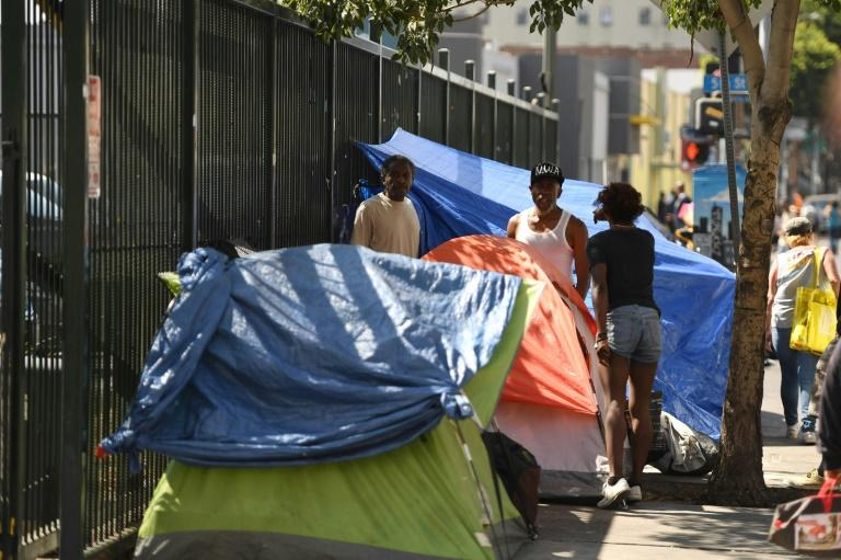 Tents line the street in Skid Row in Los Angeles, California on September 17, 2019